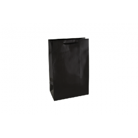 Small Black Gloss Laminated Paper Bag Printed