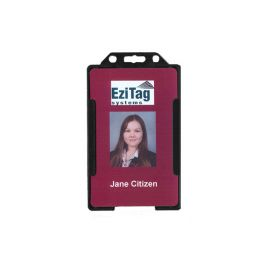 Rigid Black Security ID card holder -Portrait