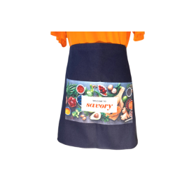 Blue Cotton Waist Apron Custom Printed Full Colour