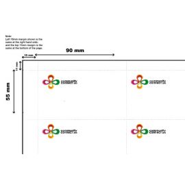 White Inserts 90mm x 55mm Printed with Full Colour Logos - 50 sheets per pack