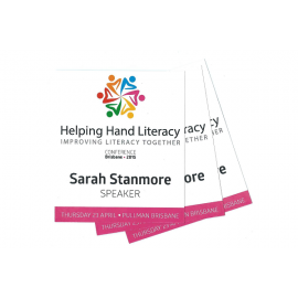 Name Tag Inserts 95mm x 113mm Printed with Logo and Name Full Colour Edge to Edge