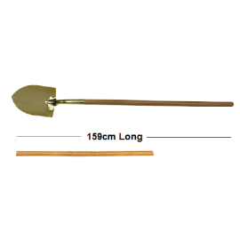 Gold Groundbreaking Ceremonial Shovel with long wooden handle