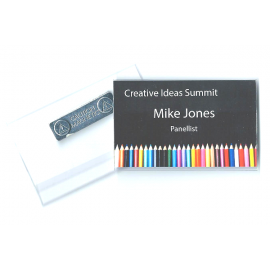 Business Card Size Rigid Badge Holder with magnet on reverse. Fully Produced