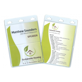 Large PVC Conference Name Tag Holder with 3 Compartments. Fully Produced